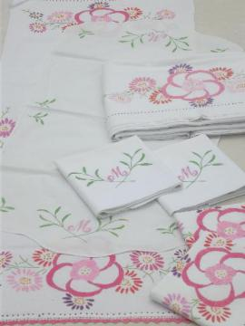 hand-embroidered cotton bed linens, M monogram vintage pillowcases & sheet set