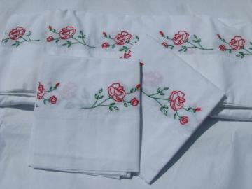 hand-embroidered vintage cotton bed linens, red roses sheet & pillowcases
