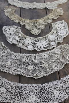 handmade Irish crochet lace, antique vintage lace collars heirloom sewing trim lot