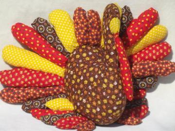 handmade Thanksgiving turkey stuffed soft sculpture in vintage calico prints
