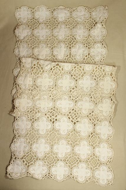 handmade antique linen and lace placemats & table runner, round fabric motifs joined w/ crochet