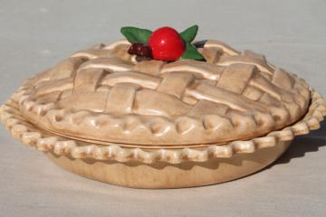 handmade ceramic cherry pie dish, pan w/ lattice crust cover & cherries