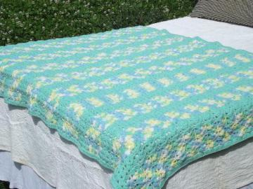 handmade crochet baby blanket afghan, soft green, yellow, sky blue