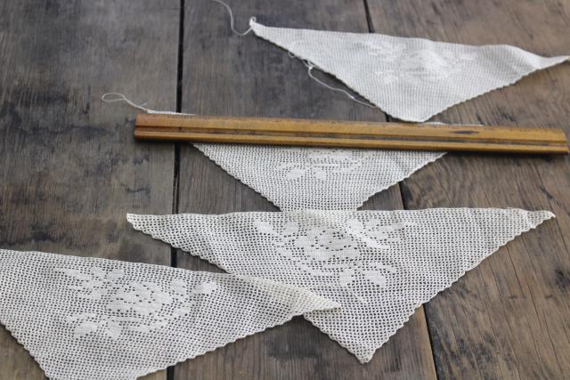 handmade crochet cotton lace corners, triangle insertion or trim for napkins or hankies