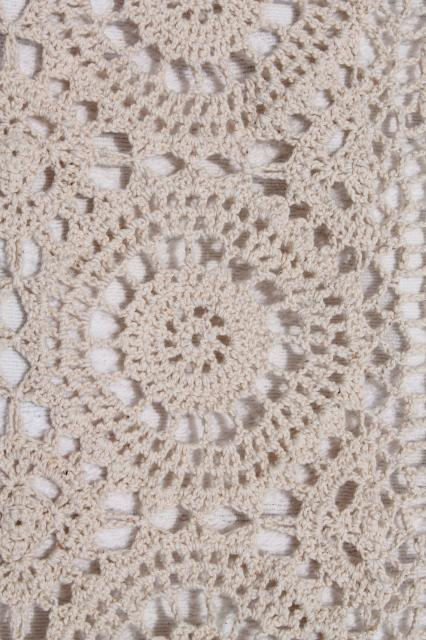 Handmade Crochet Lace Bedspread Shabby Chic Vintage Cotton Coverlet