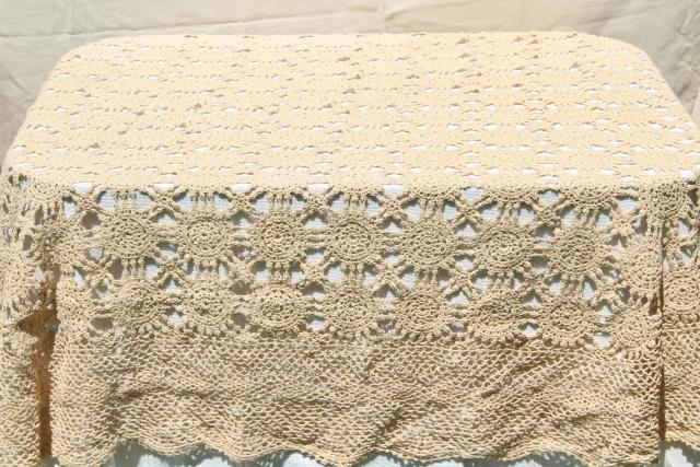 Handmade Crochet Lace Oval Tablecloth Lacy Shabby Chic