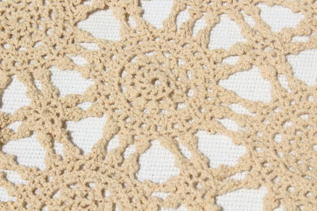 handmade crochet lace oval tablecloth, lacy shabby chic vintage ecru cotton table cover