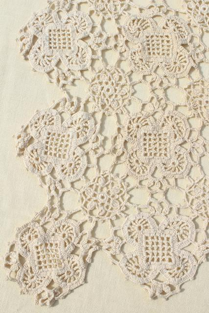 handmade crochet lace tablecloth, lacy shabby chic vintage ecru cotton table cover square