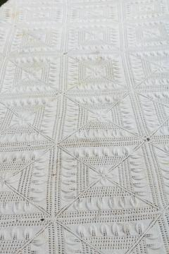 handmade knit lace bedspread, vintage coverlet, knitted lace counterpane