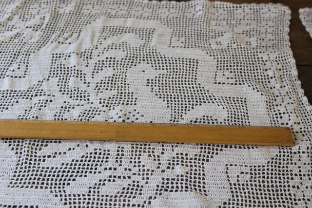 handmade lace window curtain panels, french country farmhouse vintage crochet geese