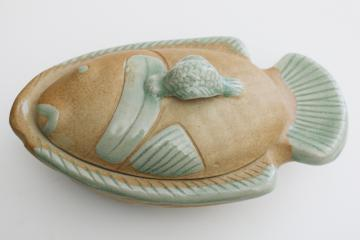 handmade pottery fish shape covered dish, rustic rough clay w/ celadon green glaze