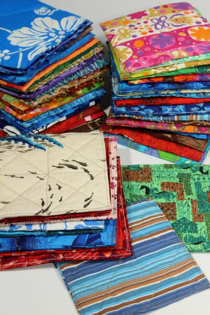 handmade quilted square hot mat pads or pot holders, bright print cotton fabric