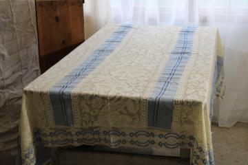handmade table cover w/ vintage lace edging, blue cotton tablecloth w/ wide panels of lace
