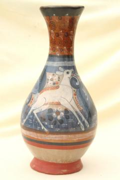 handmade vintage Mexican pottery vase, Tonala burnished clay urn w/ white deer