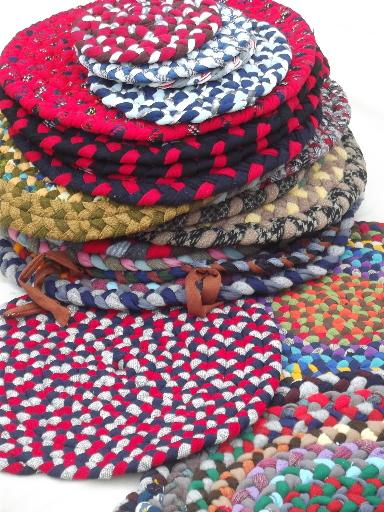 Handmade Vintage Braided Rug Chair Seats Table Mats Lot Of 23 Small Rugs