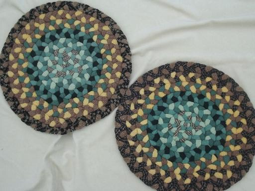 handmade vintage braided rug chair seats & table mats, lot of 23 small rugs