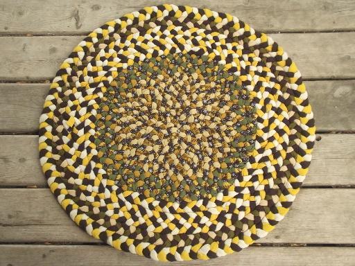 Handmade Vintage Braided Wool Rug, Round Floor Mat In Gold U0026 Green Wool