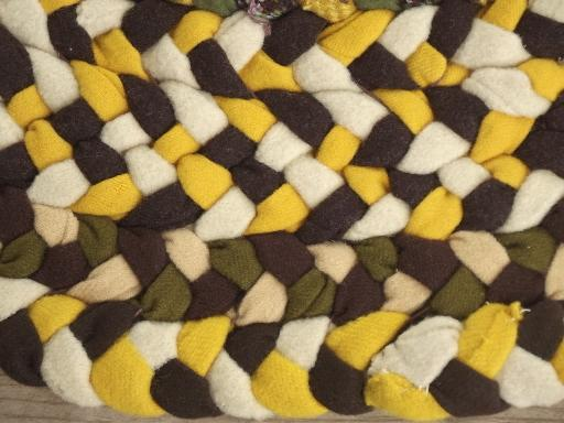 Handmade Vintage Braided Wool Rug Round Floor Mat In Gold Green