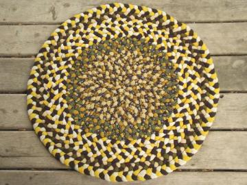 handmade vintage braided wool rug, round floor mat in gold & green wool