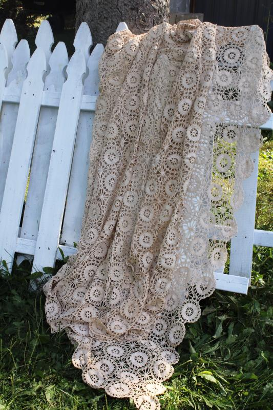 handmade vintage cotton crochet lace bedspread, shabby chic farmhouse style