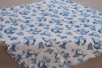 handmade vintage cotton feedsack print kitchen tablecloth, blue & white strawberry print