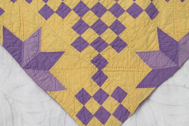 Handmade Vintage Cotton Quilt Star Pattern In Lemon Yellow
