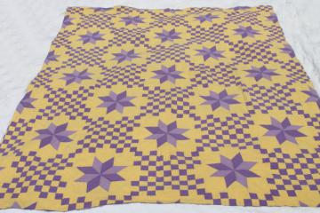 handmade vintage cotton quilt star pattern in lemon yellow & grape purple lavender