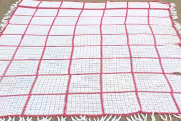 handmade vintage crochet cotton lace bedspread, lacy white blocks w/ pink