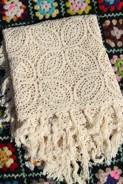 handmade vintage crochet lace table cover, tablecloth or lacy throw, heavy fringed cotton lace