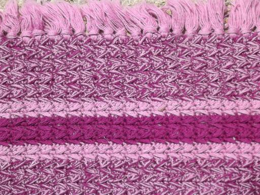 handmade vintage fringed crochet cotton throw rug, pink and wine purple