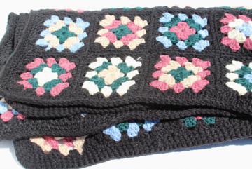 handmade vintage granny square crochet afghan, black w/ retro 80s colors