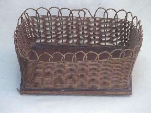 Handmade Sewing Basket : Handmade vintage sewing basket square woven reed bowl