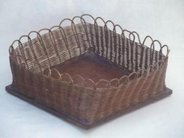 handmade vintage sewing basket, square woven reed 'bowl' on wood board