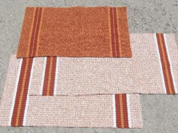 handmade vintage throw rugs set, bittersweet orange cotton thread crochet