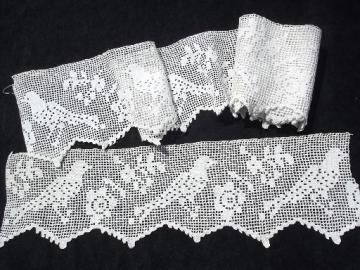 handmade vintage wide lace sewing trim or shelf edging, crochet doves border