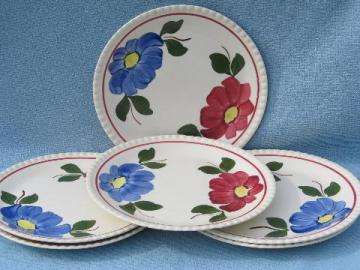 hand-painted Blue Ridge Southern Potteries plates, red & blue flower