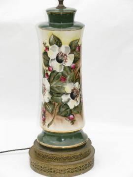 hand-painted Christmas roses, vintage 1940's china table lamp