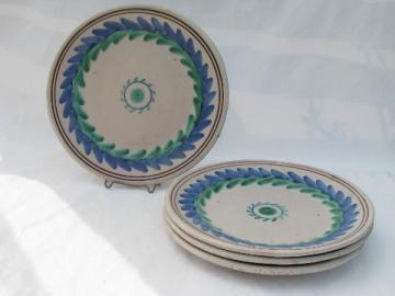 hand-painted Italian ceramic pottery plates, laurel wreaths in blue & green