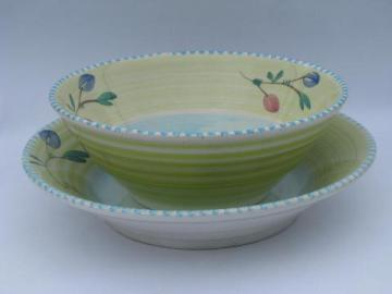 hand-painted Italian pottery, huge spaghetti & salad serving bowls