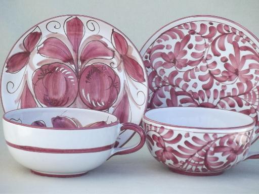 & hand-painted Italian pottery soup cups \u0026 salad / sandwich plates set