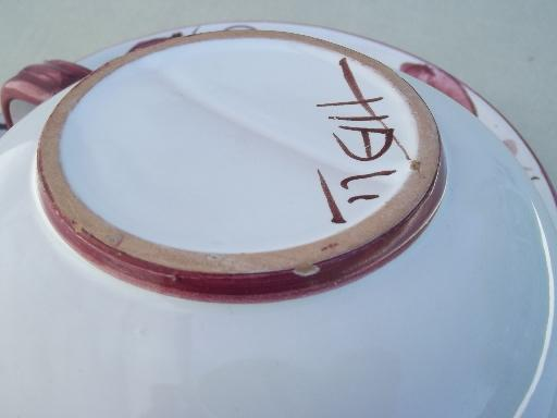 hand-painted Italian pottery soup cups & salad / sandwich plates set