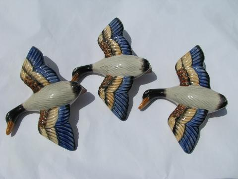 Hand Painted Japan Vintage Ceramic Wall Pockets Flying