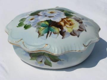hand-painted Japan, vintage china dresser or vanity box for jewelry or trinkets