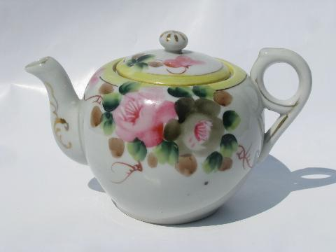 gray Teapot leaves vintage pink yellow