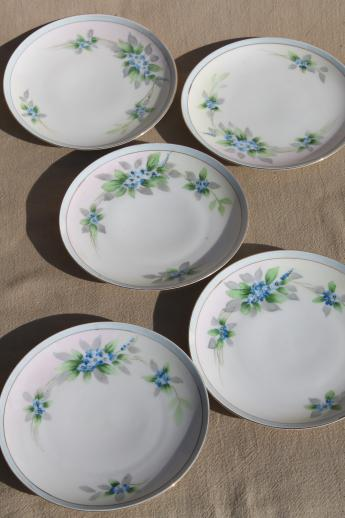 hand-painted Nippon china dessert plates, vintage porcelain w/ blue ...