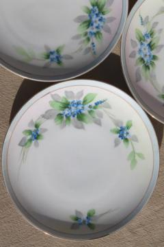hand-painted Nippon china dessert plates, vintage porcelain w/ blue forget-me-nots