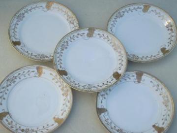 hand-painted Nippon gilded porcelain plates, vintage china cake plates