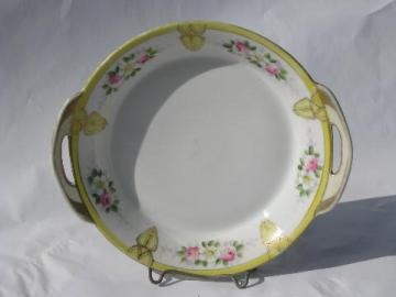 hand-painted Nippon vintage pink roses china pickle dish & vintage Nippon and Japan dinnerware u0026 sets