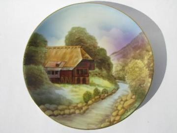 hand-painted Prussia, artist signed antique Royal Rudolstadt rustic cottage plate