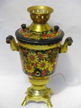 hand-painted Russian folk art floral samovar, needs spigot & tap
